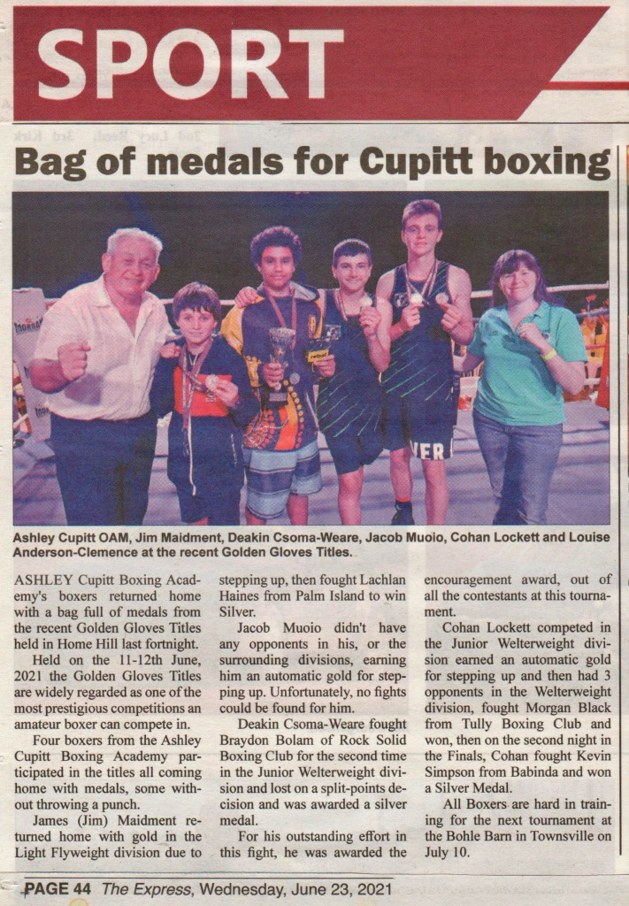 Newspaper Article of Golden Gloves results.